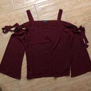 Express cold shoulder bell sleeve blouse M